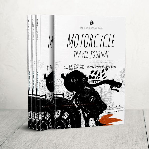 journal with the image of a motorcycle grunge illustration